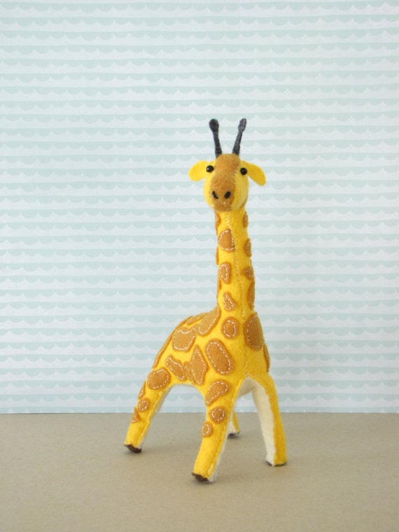 Gentle Giraffe Hand-sewn Stuffed Animal - Felt softie - yellow & tan plush safari nursery kids room decoration, baby shower gift