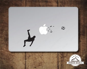 Soccer Player Blasting the Apple Macbook Sticker Football Bike Kick Mac Decal