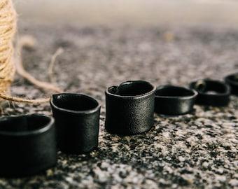 Unisex Black Leather Ring black leather