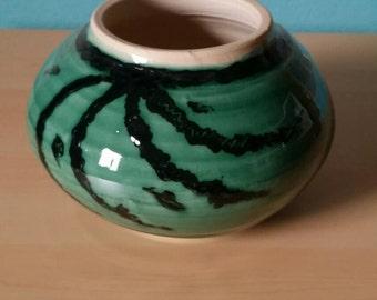 Kitten Green and Black Globe Vase