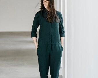 Lower Waist Linen Jumpsuit Motumo 15K3