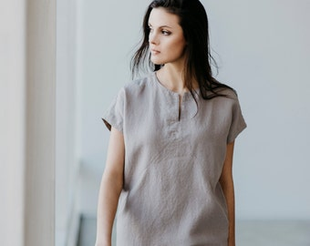 Midi Linen Dress Motumo With Short Sleeve 15S16