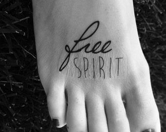 Free Spirit, Tattoo, Wild and Free, Inspirational, Be Free, Boho Tattoo, Temporary Tattoo, Fake Tattoo, Boho, Free Spirit, Foot Tattoo