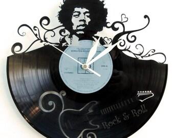 Jimi Hendrix vinyl clock