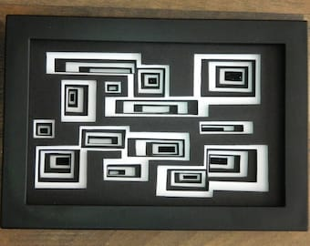3 Dimensional Paper Sculpture Disorientation Black and White