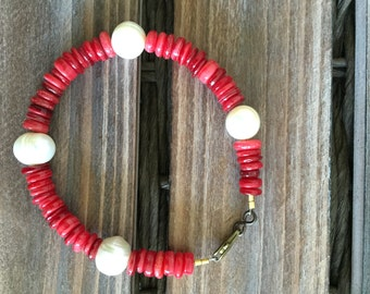 Bamboo Coral and Freshwater Pearl Bracelet