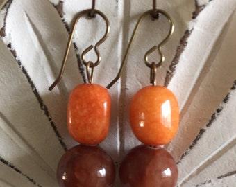 Orange Jade Nugget Earrings
