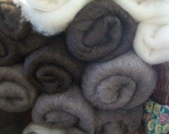 short fiber wool felting batts  - finnwool  4 -5 oz each