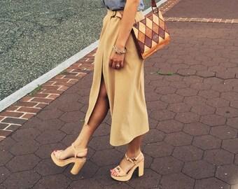 Vintage Midi Khaki Wrap Skirt, Size 6