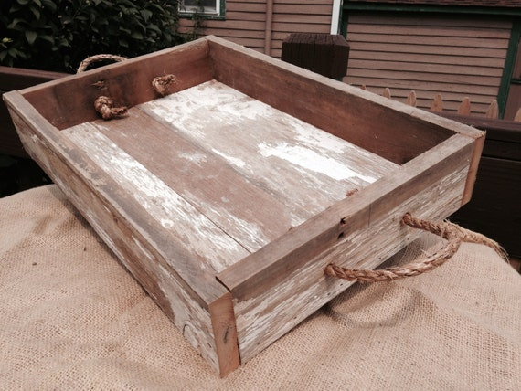Rustic wooden tray ottoman serving barn wood