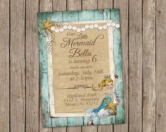 Mermaid Birthday Invitation - Blonde - printable 5x7