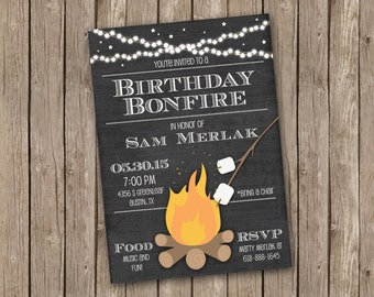 Bonfire Invitation - pirntable 5x7