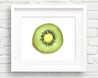 Kiwi Fruit - Art Print - Kitchen Art - Wall Decor - Watercolor Painting