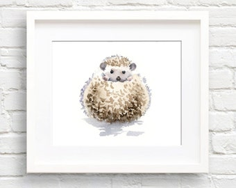 Hedgehog Art Print - Nursery Art - Wall Decor - Watercolor Painting