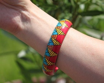 Aztec pattern hand-painted wooden bangles. Colourful Maya patterned handpainted wooden bracelet