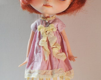 Pink and Stripes Garden Dress for Blythe - vintage - shabby chic style
