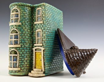 Teal Row House--Washington DC Row House Series // Ceramic Sculpture // Architectural Sculpture // Canister // Ceramic Sculpture // House