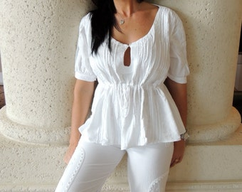 "100% Organic Gauze Cotton Front Keyhole ""Marymar"" Romantic Pleated Top"