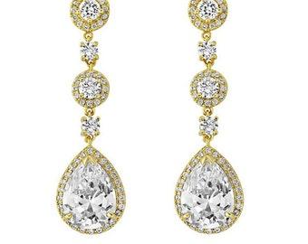 Glam Vintage style Crystal Droplet Gold Earrings, bridal earrings, prom earrings, bridal accessories, bridal jewellery