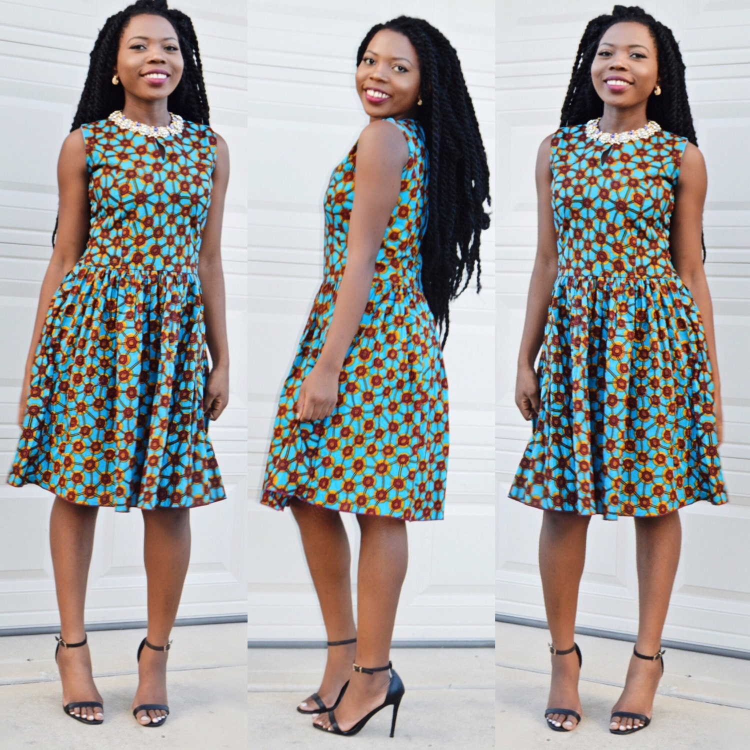 Short Cocktail Dresses with African Print Material
