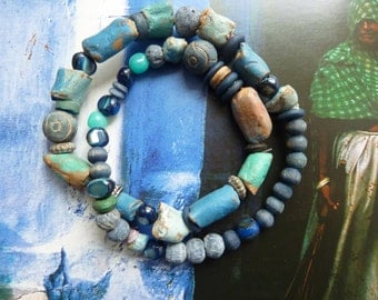 Rustic bracelet beads artisannales Earth, wood and stone
