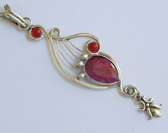 Handmade sterling silver and Natural Ruby Necklace pendant