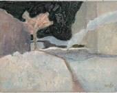 "ABSTRACT small original PAINTING. Light gray, light blue MODERN painting ""Silent yard"""