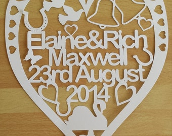Personalised Wedding Heart Paper Cut Gift UNFRAMED, Wedding Gift, Engagement Gift, Anniversary Gift, Mr and Mrs, Personalized Keepsake