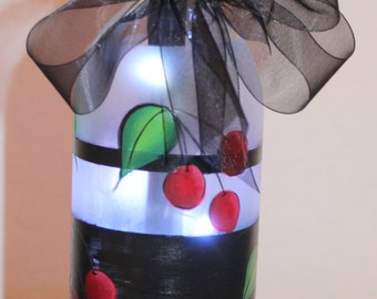 Hand Painted 750ml Clear Wine Bottle with Hand Painted Cherries