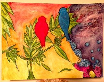 Birds of solice (Original Watercolor -8x11)