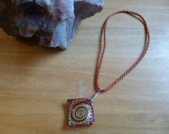 Kumihimo Braided Necklace With Glass Pendant