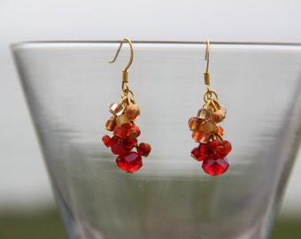Gold and Crimson Earrings