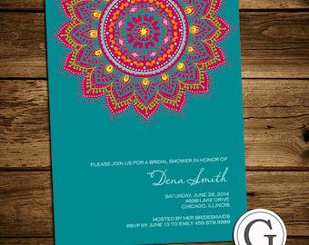 Bridal Shower Invitation - Traditional Henna, mehndi design, Eid, India, MIddle Eastern, wedding, bride to be, groom, DIY Digital Printable