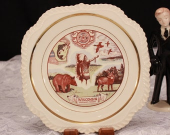 Mid century Sportsman's Paradise Display Plate. Wisconsin Plate