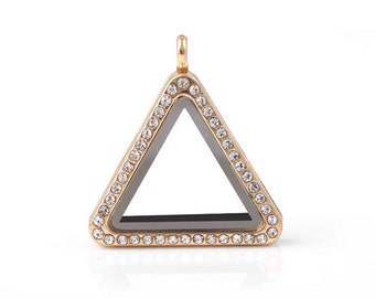 Triangle Floating Locket, Gold Glass Lockets, Memory Locket With Crystals