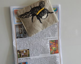 Bee screenprinted fabric fridge magnet