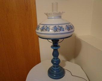 "Stunning Vintage Blue Floral ""Pitlow"" Large Hurrican Lamp"