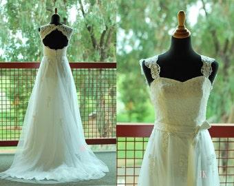 50shouse_Sweetheart retro feel lace tulle wedding dress with sash_ custom make