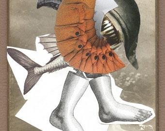"Surreal Art, paper collage, Art,original surreal collage ""Fish Eater"""