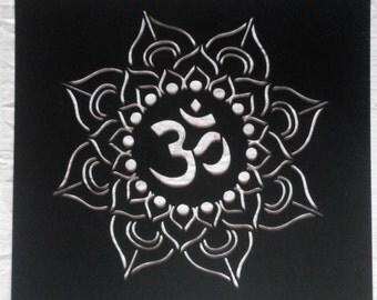reusable plastic Yoga Lotus Stencil, Mandala, Om, Sanskrit, Om Symbol, Painting, pochoir, art supply, wall art