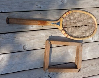 Wright & Ditson all wooden tennis racket with press