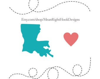 Louisiana SVG, state svg,  silhouette, heart svg, and dotted lines INSTANT DOWNLOAD vector files for cutting machines - svg, png, dxf, eps