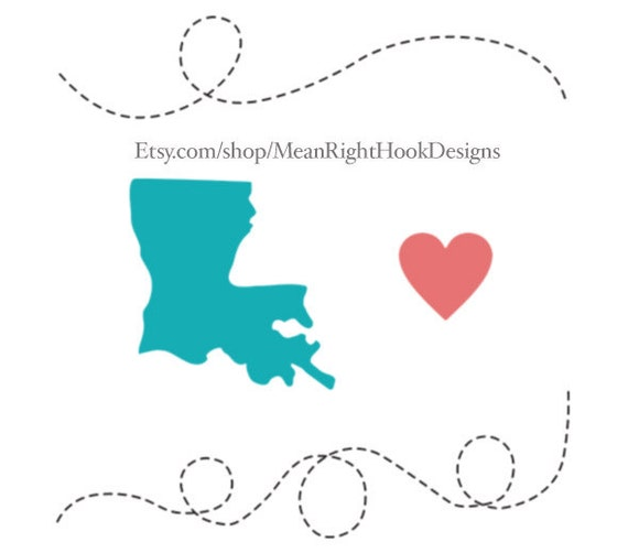 Louisiana SVG state svg silhouette heart svg and dotted