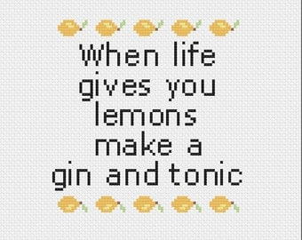 When life gives you lemons digital cross stitch pattern (PDF)