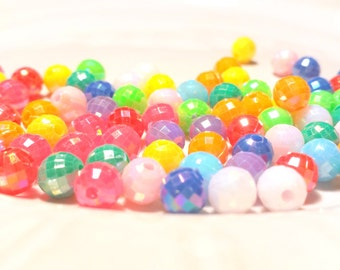 Faceted beads x 55, Colorful beads, Acrylic beads