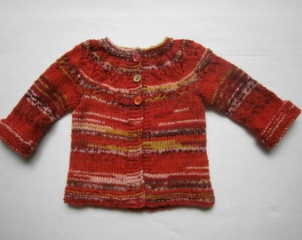 Baby's knitted multi-coloured cardigan