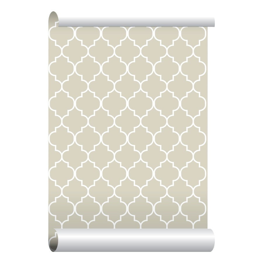 Self adhesive removable wallpaper moroccan print beige for Wallpaper with adhesive backing