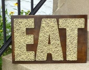Eat String Art, Kitchen Wall Hanging, Kitchen Decor, Eat Sign, Wall Hanging, Home Decor, Eat Wall Hanging, Kitchen Sign