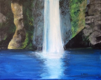 Waterfall Painting, Original 16x20 Acrylic