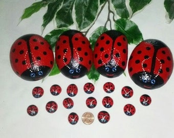 handpainted lady bug rock